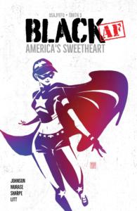 Cover des Comics Black Af. Die Hauptfigur Ellie auch Good Girl genannt in ihrem Superheldinnen Outfit mit Cap, Augenmaske, Umhang Oberteil mit Stern in der Mitte, langen engen Hosen und Sneakern