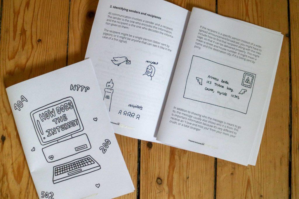 """Eine Doppelseite Zine mit dem Titelbild von """"How does the internet work"""" auf Holzfußboden"""