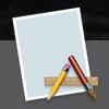 """Ein Icon im Dock eines Macs: Ein Blatt Papier, davor ein Bleistift, Pinsel und Zentimetermass in Form eines """"A"""""""
