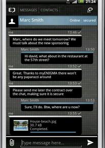 myENIGMA - Nachrichtenfenster (Android)