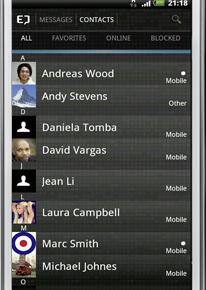 myENIGMA - Kontakteansicht (Android)
