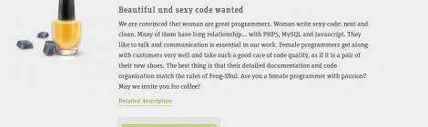 Screenshot des Stelleninserates der Firma Blooparlk Systems, in dem sie eine weibliche Web-Entwicklerin suchen.