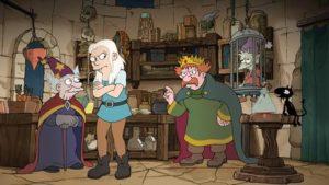Im Alchemie Labor des Hofalchemisten sitzt der ausgemergelte Elfo in einem kleinen Käfig. Bean steht verärgert mit dem Rücken zu ihrem Vater, der sie ärgerlich ermahnt.