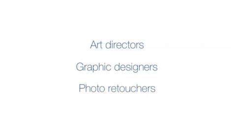 Art directors, graphic designer, photo retoucher. (Graue Schrift auf weißem Hintergrund)