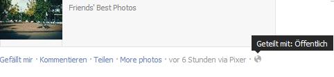 """Screenshot aus dem FB-Menü, auf dem die Option """"Geteilt mit: Öffentlich"""" gezeigt wird"""
