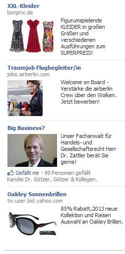 Screenshot von Werbungen bei Facebook