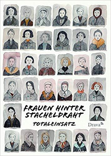 Das Cover des Comics Frauen hinter Stacheldraht: Mit Wasserfarben gemalte, kleine Portraitbilder von Frauen sind in einem Raster von 6 mal 6 Bildern abgebildet.