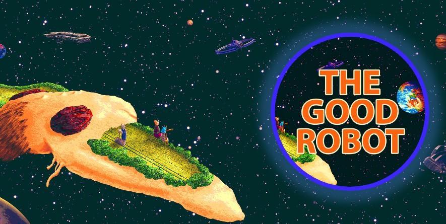 Ein Asteroid(?) aus Sand, mit einem grünem Beet, daneben die Aufschrift: The Good Robot.