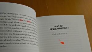 """Dieses Bild zeigt den Beginn des Kapitels """"Was ist Programmieren?"""" mit der Illustration einer Maus. Auf der Seite davor kann man sehen wie Fachbegriffe farblich hervorgehoben werden."""
