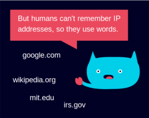 "Grafik ""But humans can't remember IP addresses, so they use words."""