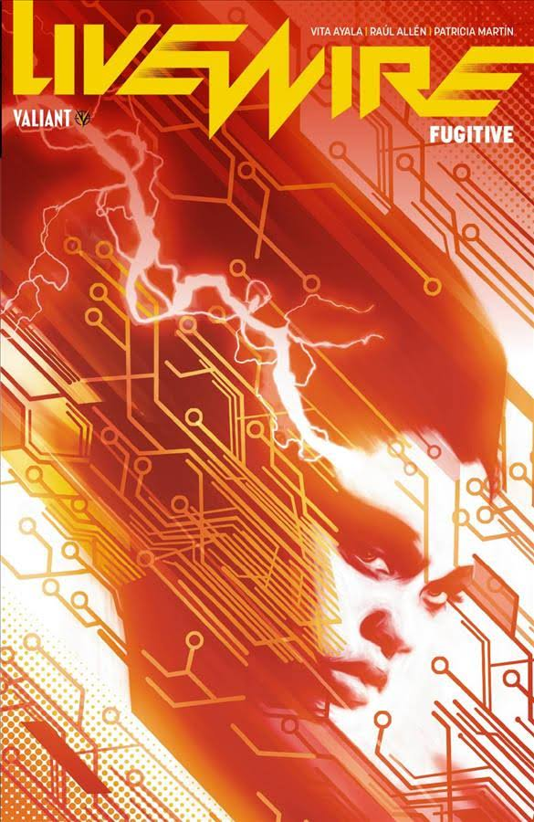 Coverbild von Livewire Band 1. Ganz in Rot gehalten ist das Gesicht eine Black Woman of Colorvon der Seite zu sehen aus deren Auge ein elektrischer Blitz strahlt. Über das ganze Bild verlaufen Schaltkreise.