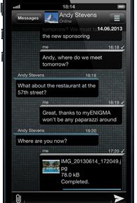 myENIGMA - Nachrichtenfenster (iPhone)