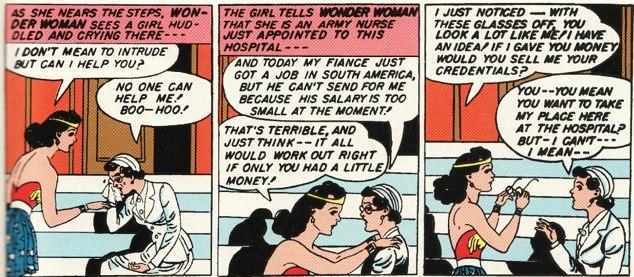 Ein Ausschnitt aus einem alten Wonder Woman Comic, in dem Wonder Woman auf die Armeekrankenschwester Diana trifft.